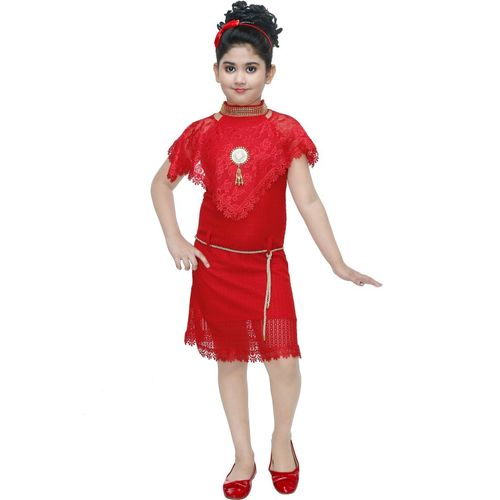 Digimart Girls Midi/Knee Length Party Dress(Red, Sleeveless)