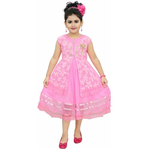 Chandrika Pearls Girls Midi/Knee Length Party Dress(Pink, Sleeveless)