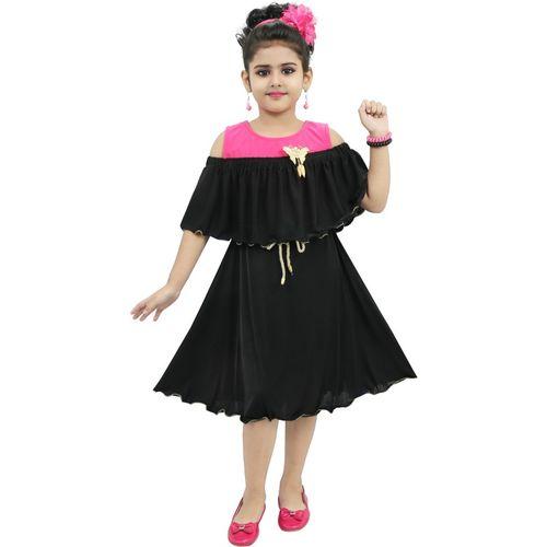CHANDRIKA Indi Girls Midi/Knee Length Casual Dress(Multicolor, Sleeveless)