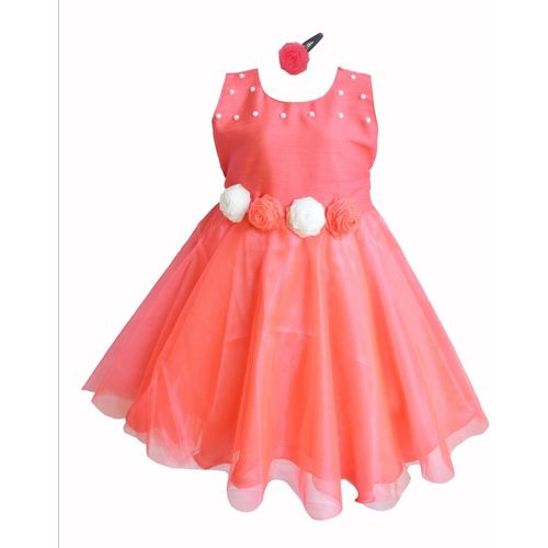 MVD Fashion Girls Midi/Knee Length Party Dress(Orange, Sleeveless)