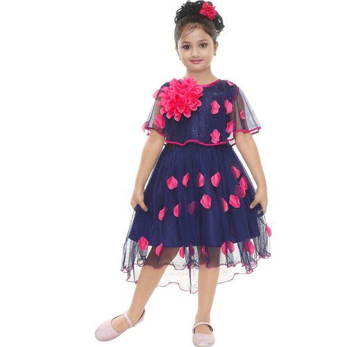 YAYAVAR Girls Midi/Knee Length Party Dress(Dark Blue, Sleeveless)