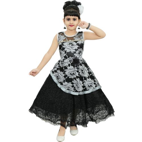 CHANDRIKA Indi Girls Maxi/Full Length Festive/Wedding Dress(Silver, Sleeveless)