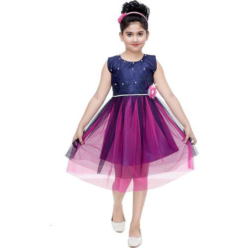 YAYAVAR Girls Midi/Knee Length Festive/Wedding Dress(Pink, Sleeveless)