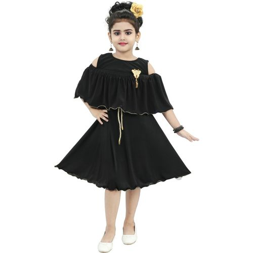CHANDRIKA Indi Girls Midi/Knee Length Casual Dress(Black, Sleeveless)