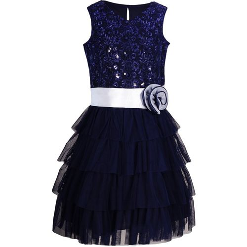 Naughty Ninos Girls Midi/Knee Length Party Dress(Blue, Sleeveless)