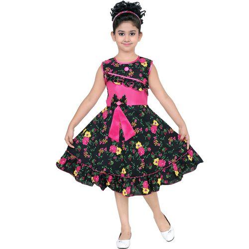 SKDC Girls Midi/Knee Length Party Dress(Multicolor, Sleeveless)