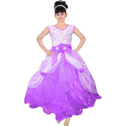 AD & AV Girls Maxi/Full Length Party Dress(Multicolor, Sleeveless)