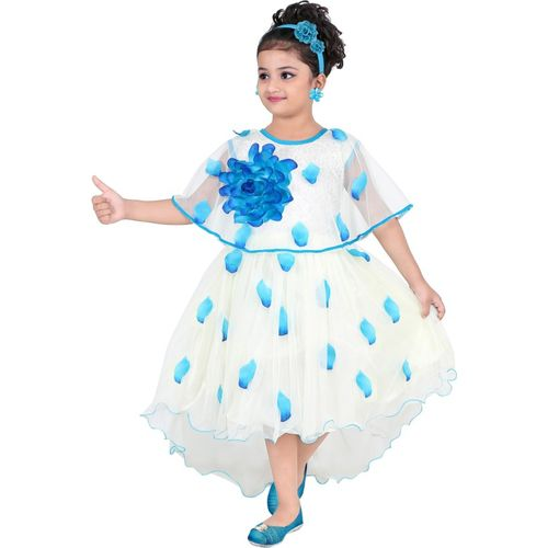 KAARIGARI Girls Midi/Knee Length Party Dress(White, Fashion Sleeve)