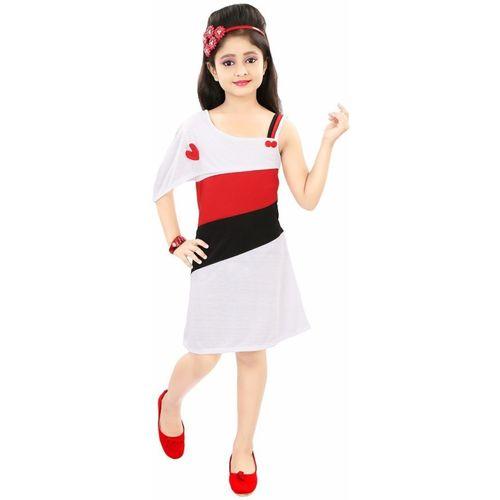 Style Junction Girls Midi/Knee Length Party Dress(Multicolor, Half Sleeve)