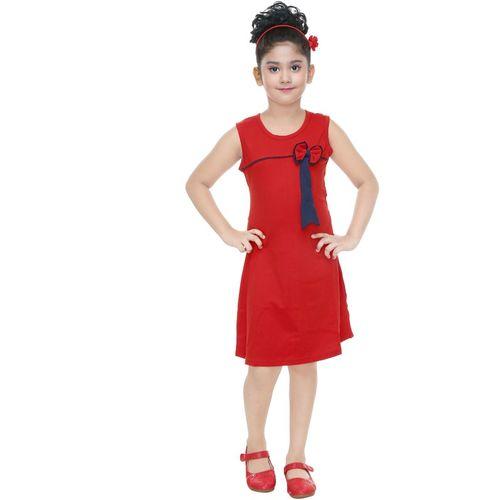 yashvi trends Girls Midi/Knee Length Casual Dress(Red, Sleeveless)