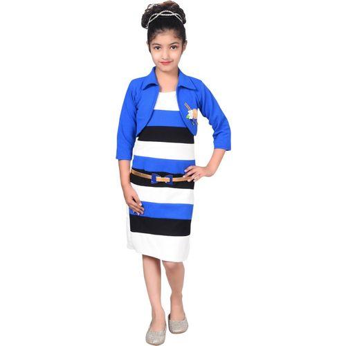 Sky Heights Girls Midi/Knee Length Casual Dress(Blue, 3/4 Sleeve)