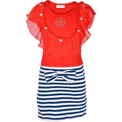 Lil Orchids Girls Midi/Knee Length Casual Dress(Red, Fashion Sleeve)