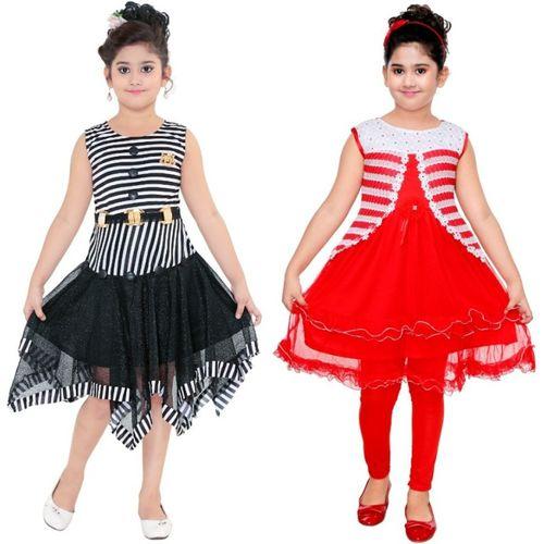 Mojua Girls Midi/Knee Length Casual Dress(Multicolor, Sleeveless)