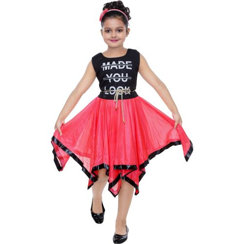 SKDC Girls Below Knee Casual Dress(Red, Sleeveless)