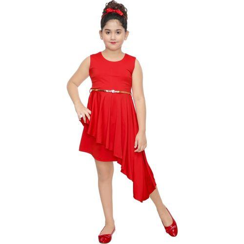 yashvi trends Girls Calf Length Party Dress(Red, Sleeveless)