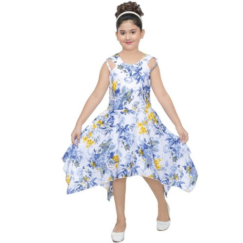 yashvi trends Girls Calf Length Casual Dress(Blue, Sleeveless)
