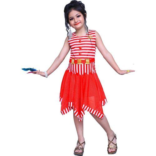 Lakshu Fashions Girls Midi/Knee Length Casual Dress(Multicolor, Sleeveless)