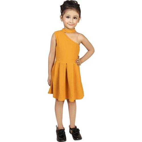 Addyvero Girls Mini/Short Party Dress(Yellow, Sleeveless)