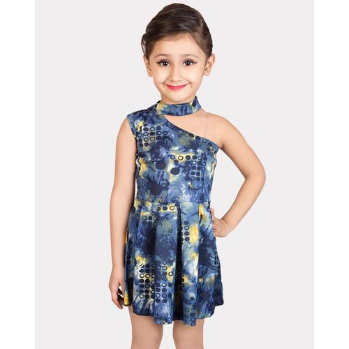 Addyvero Indi Girls Midi/Knee Length Party Dress(Blue, Sleeveless)