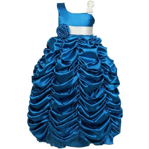 Saba Garments Girls Maxi/Full Length Party Dress(Blue, Sleeveless)