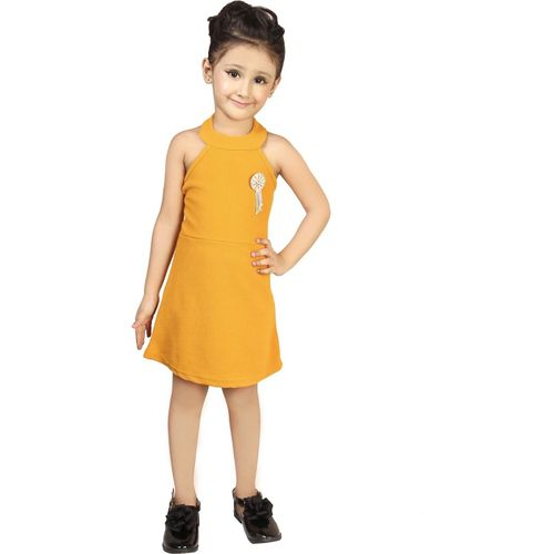 Addyvero Girls Mini/Short Party Dress(Yellow, Sleeveless)