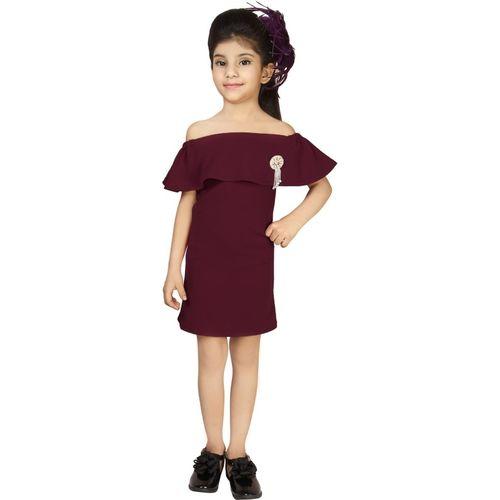 Addyvero Girls Midi/Knee Length Party Dress(Maroon, Sleeveless)