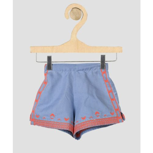 Miss & Chief Short For Girls Casual Self Design Polycotton(Blue, Pack of 1)