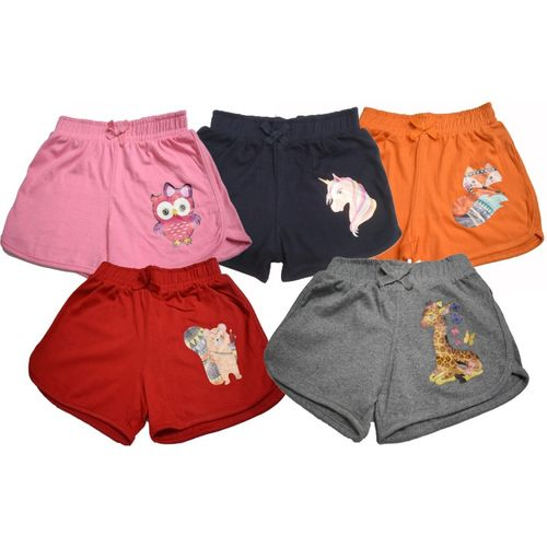Totztouch Short For Girls Casual Animal Print Pure Cotton(Multicolor, Pack of 5)
