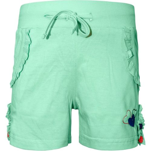 Kothari Short For Girls Casual Solid Cotton Blend(Light Green, Pack of 1)