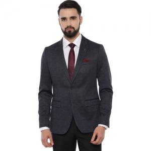 Van Heusen Self Design Single Breasted Formal Men Blazer(Dark Blue)