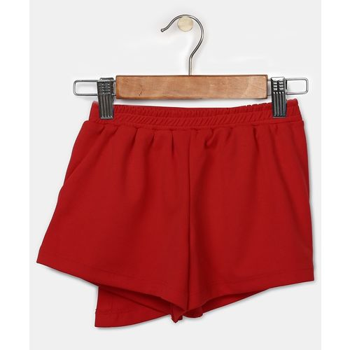 Miss & Chief Short For Girls Casual Solid Polycotton(Red, Pack of 1)