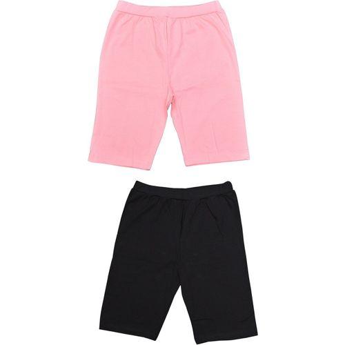 MRB Short For Girls Sports Solid Cotton Lycra Blend(Multicolor, Pack of 2)