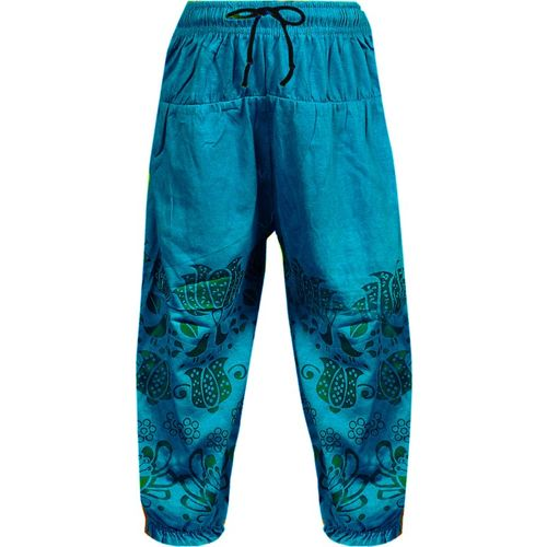 Fashionate World Capri For Girls Casual Printed Cotton Blend(Light Blue Pack of 1)