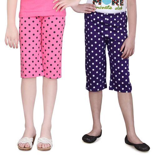 Sini Mini Capri For Girls Printed Cotton Blend(Multicolor)