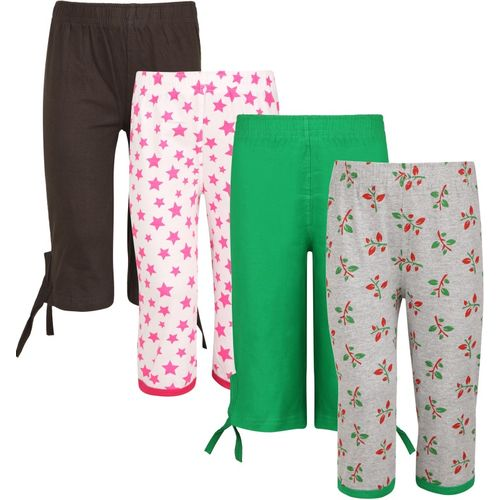 Sini Mini Capri For Girls Casual Printed Cotton Blend(Multicolor Pack of 4)