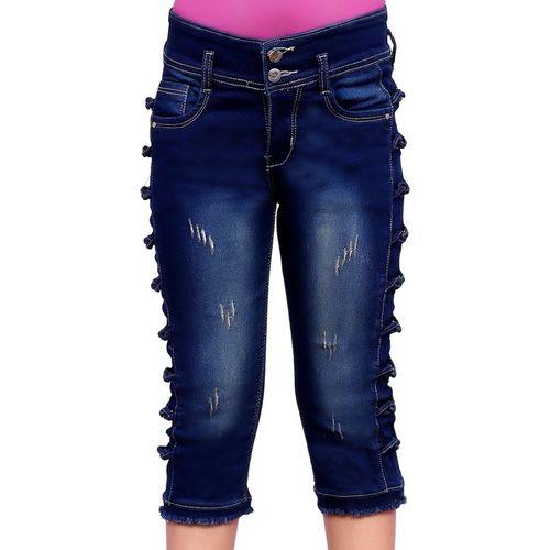 FNOCKS Capri For Girls Casual Self Design Denim(Blue Pack of 1)
