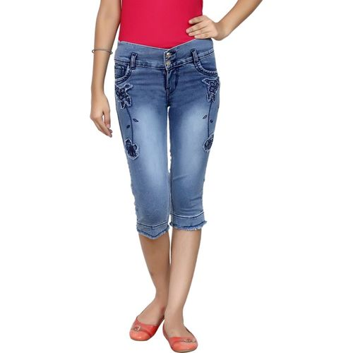 Oriex Capri For Girls Casual Self Design Denim(Blue Pack of 1)