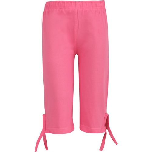 Sini Mini Capri For Girls Casual Solid Cotton Blend(Pink Pack of 1)