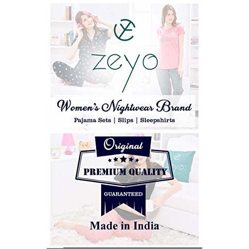 ZEYO Women's Cotton Navy Blue, Pink & Charcoal Black Dot Printed Night Suit