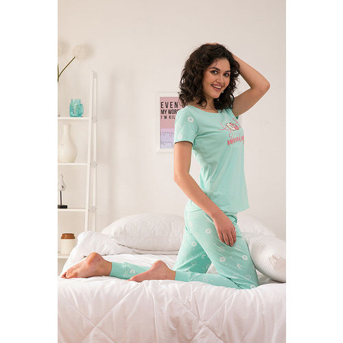 Zivame Candyland Knit Cotton Top N Pyjama Set- Mint Green N Print