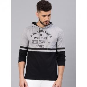 Maniac Grey Melange & Black Colourblocked Slim Fit Hooded T-shirt