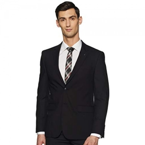 Van Heusen black polyester blend Notch Lapel Slim fit Blazer
