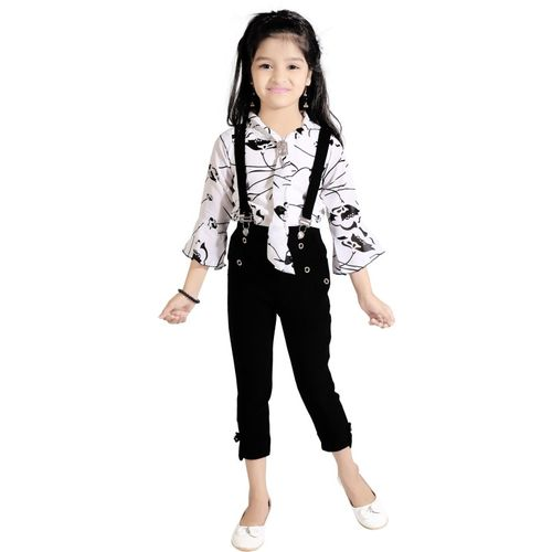 AD & AV Dungaree For Girls Casual Printed Cotton Blend(Black, Pack of 1)
