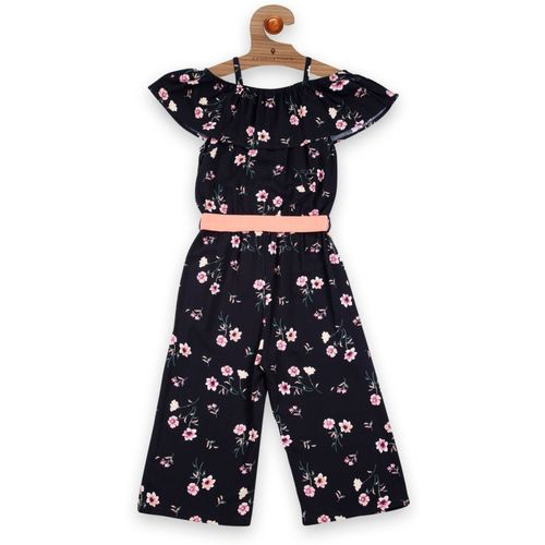Stylo Bug Dungaree For Girls Casual Floral Print Polycotton(Black, Pack of 1)