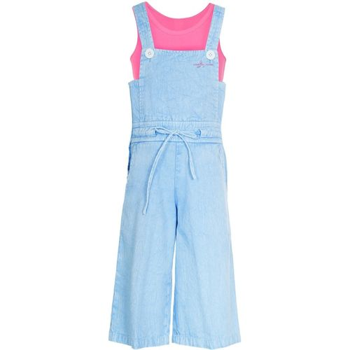 Naughty Ninos Dungaree For Girls Casual Solid Cotton Blend(Light Blue, Pack of 1)