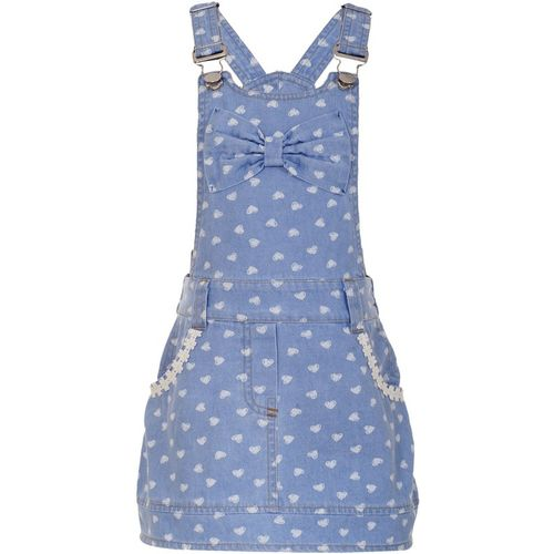 Naughty Ninos Dungaree For Girls Casual Printed Cotton Blend(Blue, Pack of 1)