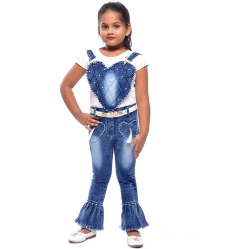 Aayat Fashion Dungaree For Girls Party Self Design Cotton Blend(Blue, Pack of 1)