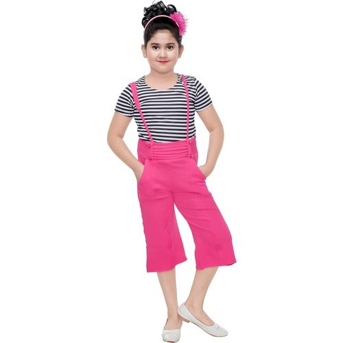 maxmeme Dungaree For Girls Striped Cotton Blend(Pink, Pack of 1)