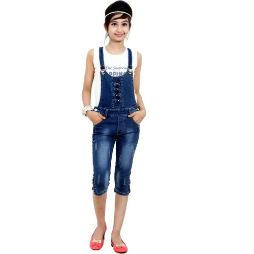 Sunday Casual Dungaree For Girls Casual Solid Cotton Lycra Blend(Blue, Pack of 1)