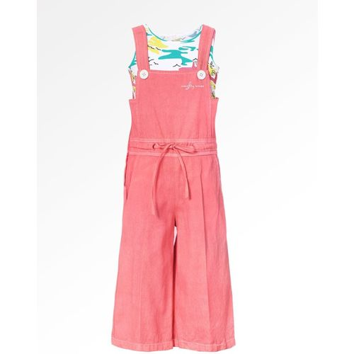 Naughty Ninos Dungaree For Girls Casual Printed Cotton Blend(Pink, Pack of 1)